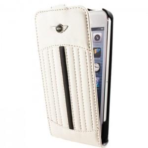 étui rabat iphone 5/5s mini cooper blanc avec bande noir