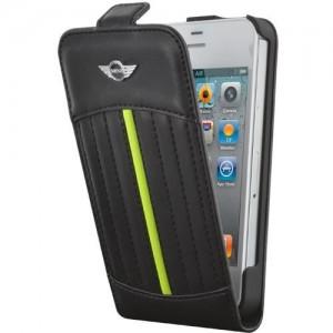 étui rabat iphone 5/5s mini cooper noir avec bande jaune