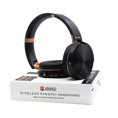 Casque bluetooth sans fil noir avec lecteur radio MP3 compatible tout smartphone