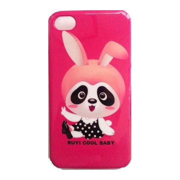Coque Iphone 4/4S Motif Lapin baby sur fond rose brillant