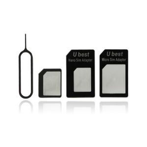 Adaptateur Blanc 4 en 1 pour Carte Nano Sim, Carte Sim et Carte Micro Sim pour iPhone et iPad avec Epingle Ejection Sim