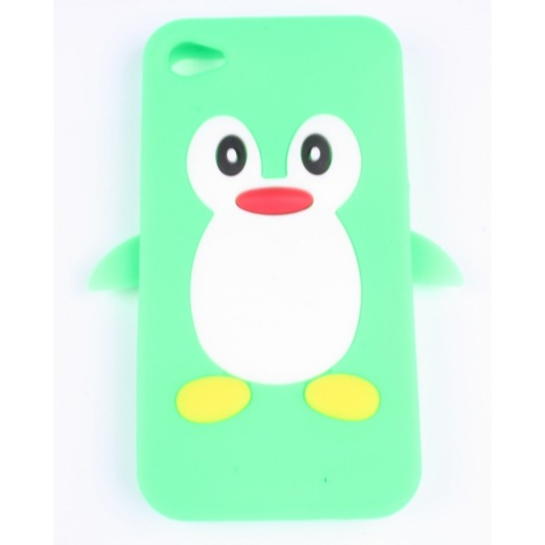 coque iphone 4 4s verte pingouin silicone accessoire discount. Black Bedroom Furniture Sets. Home Design Ideas