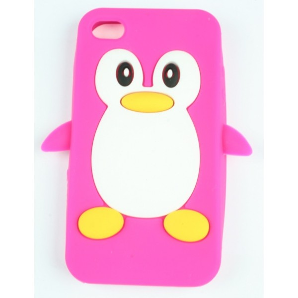 coque iphone 4 4s rose fushia pingouin silicone