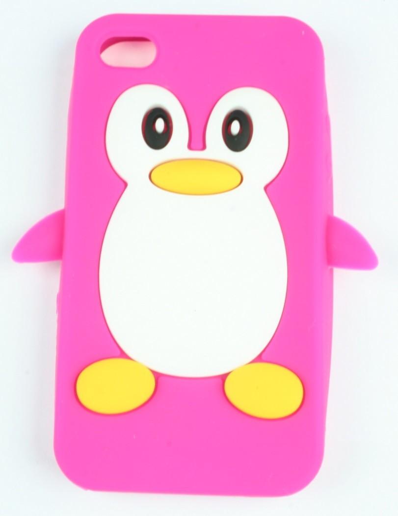 Coque iphone 4/ 4s rose fushia pingouin silicone - Accessoire Discount