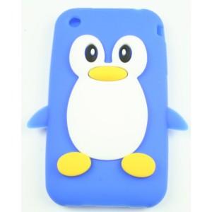 Coque Iphone 3G / 3GS pingouin bleu Silicone