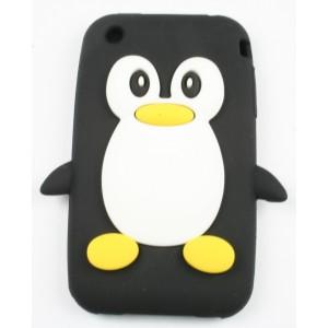 Coque Iphone 3G / 3GS pingouin noir Silicone