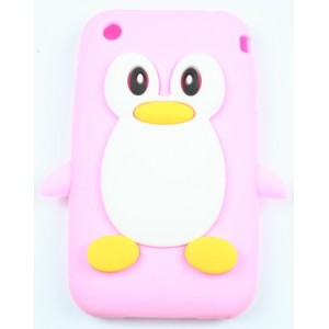 coque iphone 3g / 3gs pingouin rose pale silicone