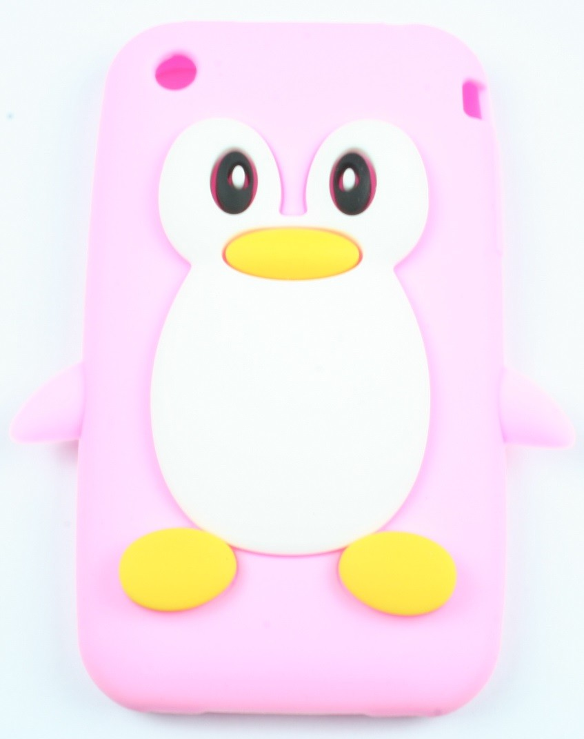 coque iphone 3g 3gs rose pale pingouin silicone