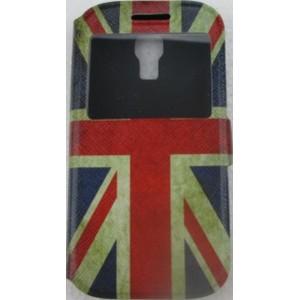 étui portefeuille samsung galaxy s4 mini drapeau anglais usé avec fenetre